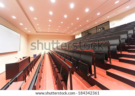 JENA, GERMANY - MAY, 08, 2011: empty lecture hall in a University in ABBE Center of Photonics (ACP) am Campus Beutenberg in Jena. Gerrmany - stock photo