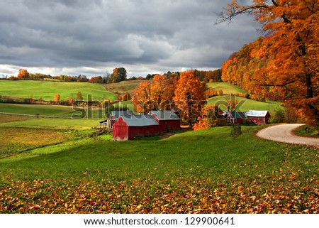 Jenne Farm in Fall with Incoming Storm Clouds - stock photo