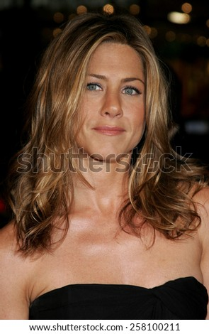 """Jennifer Aniston attends The Warner Brothers World Premiere of """"Rumor Has It"""" held at The Grauman's Chinese Theater  in Hollywood, California on December 15, 2005.   - stock photo"""