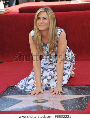Jennifer Aniston on Hollywood Boulevard where she was honored with the 2,462nd star on the Hollywood Walk of Fame. February 22, 2012  Los Angeles, CA Picture: Paul Smith / Featureflash - stock photo