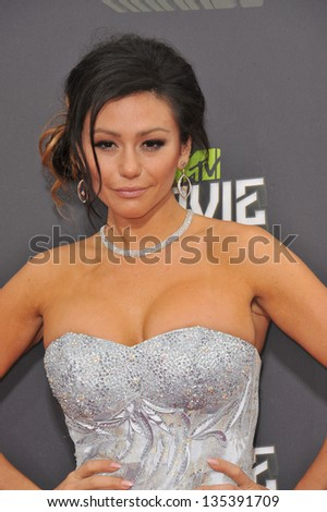 Jennifer Farley, aka JWoww, at the 2013 MTV Movie Awards at Sony Studios, Culver City. April 14, 2013  Los Angeles, CA Picture: Paul Smith - stock photo