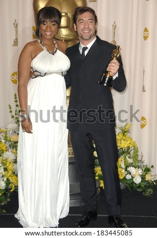 Jennifer Hudson, in Roberto Cavalli dress, Javier Bardem, winner, Best Supporting Actor, NO COUNTRY FOR OLD MEN, in Prada suit, 80th Annual Academy Awards Oscars Ceremony, LA, February 24, 2008