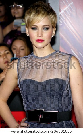 "Jennifer Lawrence at the Los Angeles premiere of ""The Hunger Games: Catching Fire"" held at the Nokia Theatre L.A. Live in Los Angeles on November 18, 2013. - stock photo"