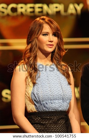 Jennifer Lawrence at the 84th Academy Awards Nominations Announcement, Academy of Motion Picture Arts and Sciences, Los Angeles, CA 01-24-12 - stock photo