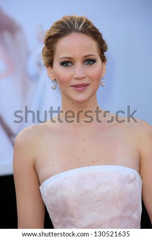 Jennifer Lawrence at the 85th Annual Academy Awards Arrivals, Dolby Theater, Hollywood, CA 02-24-13 - stock photo