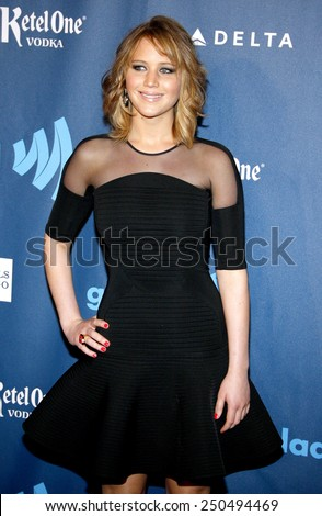 Jennifer Lawrence at the 24th Annual GLAAD Media Awards at the JW Marriott Los Angeles at L.A. LIVE on April 20, 2013  - stock photo