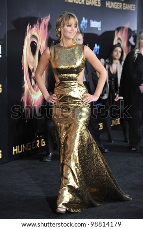 """Jennifer Lawrence at the world premiere of her new movie """"The Hunger Games"""" at the Nokia Theatre L.A. Live. March 12, 2012  Los Angeles, CA Picture: Paul Smith / Featureflash - stock photo"""
