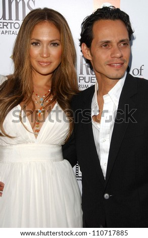 """Jennifer Lopez and Marc Anthony at the Los Angeles Premiere of """"El Cantante"""". Director's Guild of America Theatre, Los Angeles, CA. 07-31-07 - stock photo"""