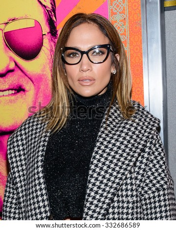 "Jennifer Lopez arrives at the red carpet premiere of ""Rock The Kasbah"" in New York, NY on October 19th 2015 - stock photo"