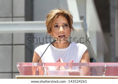 Jennifer Lopez at the Jennifer Lopez Star on the Walk of Fame ceremony, Hollywood, CA 06-20-13 - stock photo