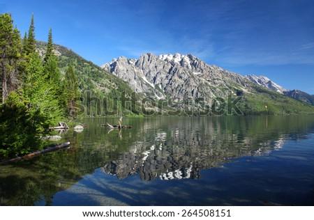 Jenny Lake in Grand Teton National Park, Wyoming - stock photo
