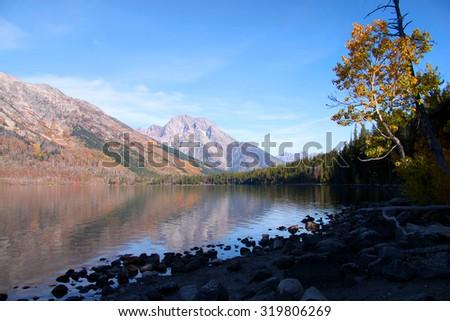 Jenny lake landscape in Grand Tetons national park - stock photo