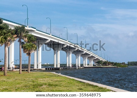 Jensen Beach Bridge Florida USA crossing Indian River on a cloudy and windy day - stock photo