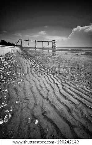 Jeran beach during low tide - stock photo