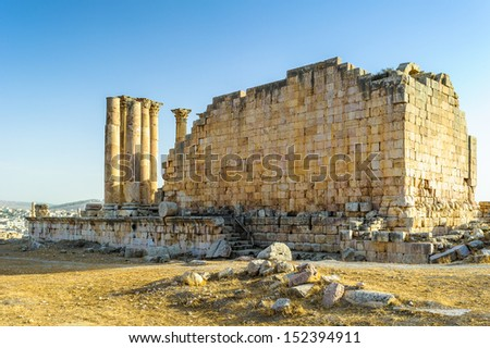 Jerash (Jordan), capital and largest city of Jerash Governorate, is situated in the north of Jordan, north of the capital Amman towards Syria. - stock photo