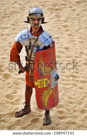 JERASH - NOVEMBER 25: Jordanian man dress as Roman soldier during a roman army reenactment show on November 25, 2009 in Jerash, Jordan - stock photo