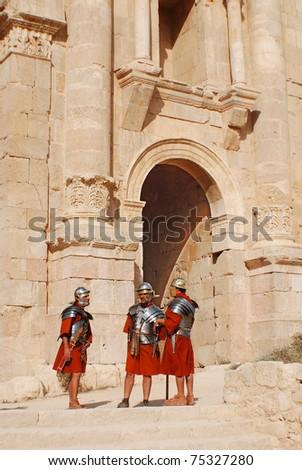 JERASH - NOVEMBER 25: Jordanian man dressed as Roman soldier during a roman army reenactment show on November 25, 2009 in Jerash, Jordan - stock photo