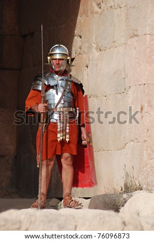 JERASH - NOVEMBER 25: Jordanian man dresses as Roman soldier during a roman army reenactment show on November 25, 2009 in Jerash, Jordan
