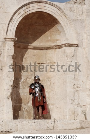 JERASH - NOVEMBER 25: Jordanian men dress as Roman soldier during a roman army reenactment show on November 25, 2009 in Jerash, Jordan