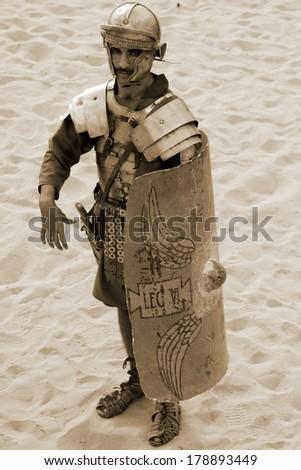 JERASH - NOVEMBER 25: Jordanian men dress as Roman soldier during a roman army reenactment show on November 25, 2009 in Jerash, Jordan - stock photo