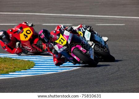 JEREZ DE LA FRONTERA, SPAIN - APR 17: Moto2 motorcyclist Ivan Moreno takes a curve in the CEV Championship race on April 17, 2011 in Jerez de la Frontera, Spain. - stock photo