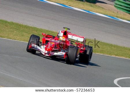 JEREZ DE LA FRONTERA, SPAIN - CIRCA 2006 : Luca Badoer of Scuderia Ferrari F1 on training session in Jerez de la Frontera , Spain, 2006 - stock photo