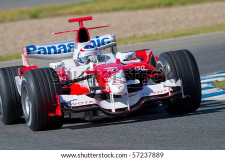 JEREZ DE LA FRONTERA, SPAIN - CIRCA 2006 : Olivier Panis of Toyota F1 on training session circa 2006 in Jerez de la Frontera, Spain. - stock photo