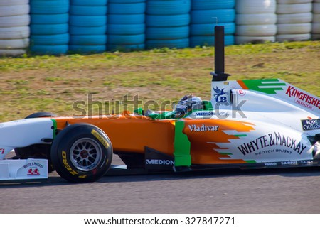 JEREZ DE LA FRONTERA, SPAIN - FEB 11: Adrian Sutil of Force