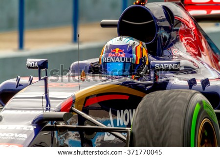 JEREZ DE LA FRONTERA, SPAIN - FEB 03:  Carlos Sainz of Scuderia Toro Rosso F1 Team leaving pits 