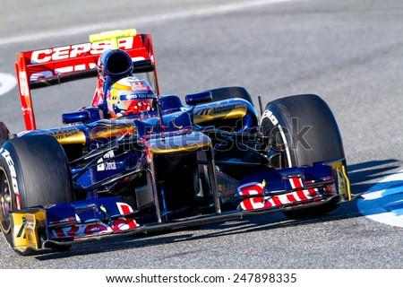 JEREZ DE LA FRONTERA, SPAIN - FEB 10: Jean Eric Vergne of Toro Rosso F1 races on training session on February 10 , 2012, in Jerez de la Frontera , Spain - stock photo