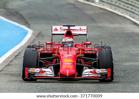 JEREZ DE LA FRONTERA, SPAIN - FEB 03:  Kimi Raikkonen of Scuderia Ferrari F1 leaving pits 