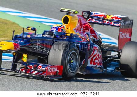 JEREZ DE LA FRONTERA, SPAIN - FEB 08: Mark Webber of Red Bull F1 races on training session on February 08 , 2012, in Jerez de la Frontera , Spain - stock photo