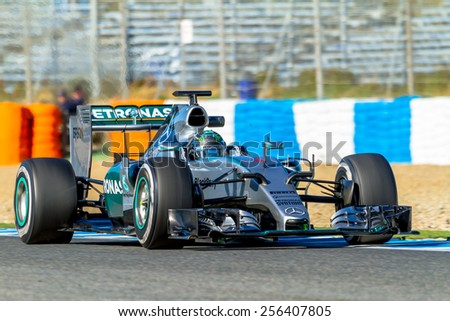 JEREZ DE LA FRONTERA, SPAIN - FEB 01:  Nico Rosberg of Mercedes AMG Petronas F1 races  on training session on February 01 , 2015, in Jerez de la Frontera , Spain - stock photo