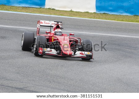 JEREZ DE LA FRONTERA, SPAIN - FEBRUARY 03: Kimi Raikkonen pilot of the team Ferrari in test Formula 1 in Circuito de Jerez on feb 03, 2015 in Jerez de la frontera.