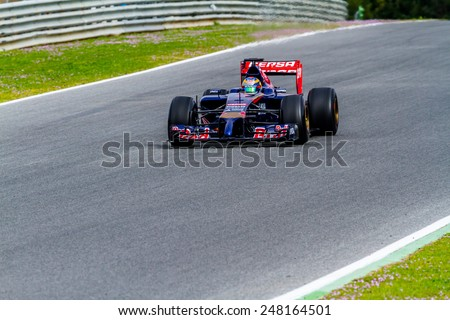 JEREZ DE LA FRONTERA, SPAIN - JAN 28:  Jean-Eric Vergne of Toro Rosso F1 races on training session on January 28 , 2014, in Jerez de la Frontera , Spain