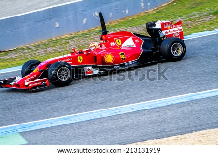 JEREZ DE LA FRONTERA, SPAIN - JAN 28: Kimi Raikkonen of Scuderia Ferrari F1 races on training session on January 28 , 2014, in Jerez de la Frontera , Spain