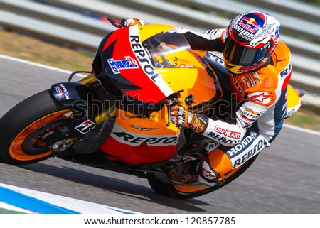 JEREZ DE LA FRONTERA, SPAIN - MAR 23: MotoGP motorcyclist Casey Stoner takes a curve in the MotoGP Official Trainnig on March 23, 2012 in Jerez de la Frontera, Spain