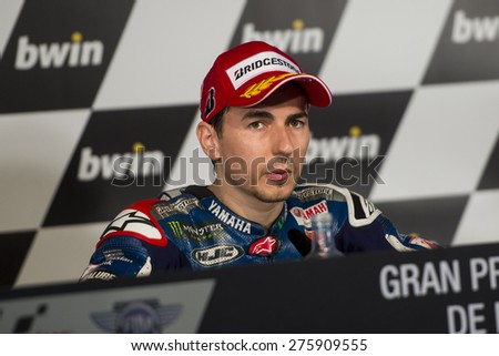 JEREZ DE LA FRONTERA, SPAIN - MAY 03: Jorge Lorenzo, spanish motoGP rider of team Movistar Yamaha in the Press Conference of Bwin Grand Prix of Spain on May 03, 2015 in Jerez de la frontera.