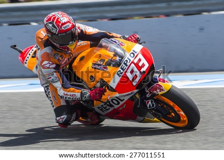 JEREZ DE LA FRONTERA, SPAIN - MAY 01:  Marc Marquez, spanish motoGP rider of Repsol Honda Team Movistar Yamaha in Bwin Grand Prix of Spain on May 01, 2015 in Jerez de la frontera.