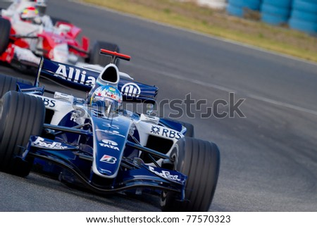 JEREZ DE LA FRONTERA, SPAIN -  OCT 11: Alex Wurz of Williams F1 races on training session on October 11, 2006 in Jerez de la Frontera , Spain - stock photo