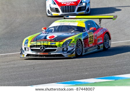 JEREZ DE LA FRONTERA, SPAIN - OCT 16: Jose Pedro Fontes of Vodafone BP Ultimate Team races on Iber GT championship on October 16 , 2011, in Jerez de la Frontera , Spain