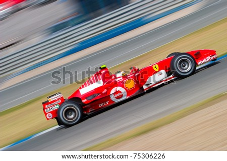JEREZ DE LA FRONTERA, SPAIN -  OCT 10: Luca Badoer of Scuderia Ferrari F1 races during a training session on October 10, 2006 in Jerez de la Frontera , Spain - stock photo