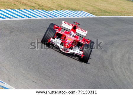 JEREZ DE LA FRONTERA, SPAIN - OCT 10: Marc Gene of Scuderia Ferrari F1 take a curve on training session on October 10 , 2006 in Jerez de la Frontera , Spain
