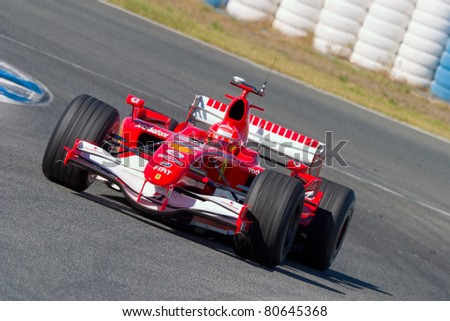 JEREZ DE LA FRONTERA, SPAIN - OCT 11: Michael Schumacher of Scuderia Ferrari F1 races on training session on October 11 , 2006 in Jerez de la Frontera , Spain