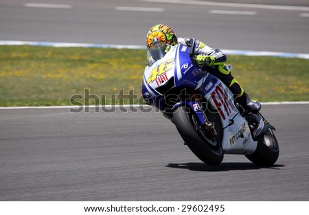 JEREZ - MAY 3 : Italian MotoGP rider Valentino Rossi in action during the GP betandwin.com of Spain May 3, 2009 in Jerez de la Frontera, Spain. Rossi finished first.