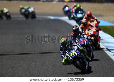 JEREZ - SPAIN, APRIL 24: Italian Yamaha rider Valentino Rossi wins at 2016 Red Bull MotoGP of Spain at Jerez circuit on April 24, 2016 - stock photo