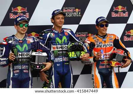 JEREZ - SPAIN, APRIL 23: Italian Yamaha rider Valentino Rossi wins at 2016 Red Bull MotoGP of Spain at Jerez circuit on April 23, 2016