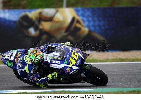 JEREZ - SPAIN, APRIL 23: Italian Yamha rider Valentino Rossi wins at 2016 Red Bull MotoGP of Spain at Jerez circuit on April 23, 2016 - stock photo