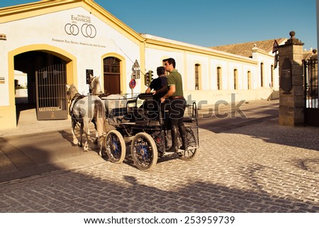 JEREZ, SPAIN - AUGUST 9: The equestrian from royal school of riding. One of the best world schools of horse art on August 9, 2014 in Jerez, Spain - stock photo