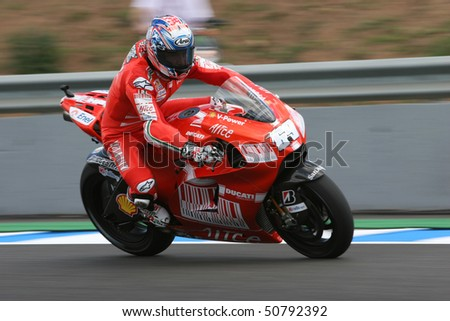 JEREZ, SPAIN - MAY 1 : Nicky Hayden of the USA braking hard during the 1 free practice before GP betandwind.com of Spain, May 1, 2009 in Jerez de la Frontera, Spain